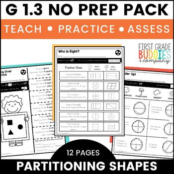 Print a Standard 1.G.3 {Partitioning Shapes into 2 & 4 Equ