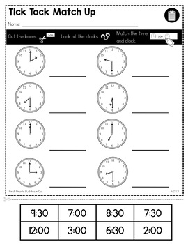 Print a Standard 1.MD.3 {Tell and Write Time, Hour and Half Hour} No Prep Pack