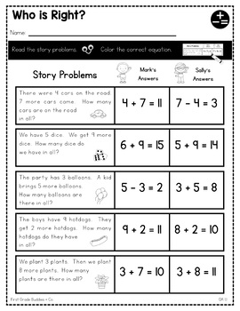 Print a Standard 1.OA.1 {Story Problems Within 20} No Prep Pack