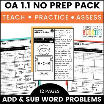 Addition Subtraction Word Problems   OA 1.1  No Prep Tasks Assessment Worksheets