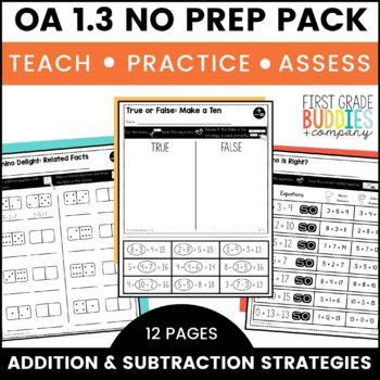 Addition and Subtraction | OA 1.3 | No Prep Tasks | Assessment | Worksheets