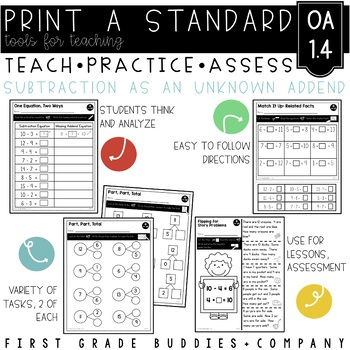 Print a Standard 1.OA.4 {Understand Subtraction as Unknown Addend} No Prep Pack