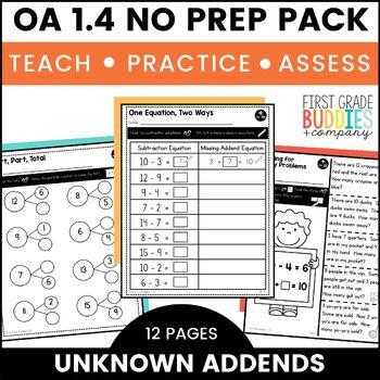 Subtraction Unknown Addend | OA 1.4 | No Prep Tasks | Assessment | Worksheets