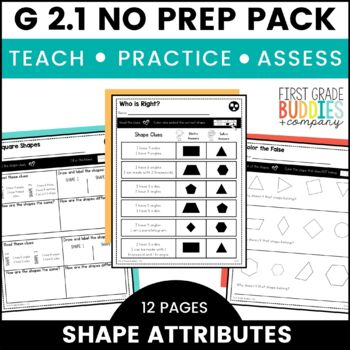 Shape Attributes | G 2.1 | No Prep Tasks | Assessment | Worksheets