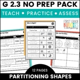 Partition Shapes | Fractions | G 2.3 | No Prep Tasks | Assessment | Worksheets