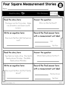Measurement Word Problems | MD 2.5 | No Prep Tasks | Assessment | Worksheets