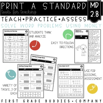 Print a Standard 2.MD.8 {Word Problems with Money / Money Symbols} No Prep Pack