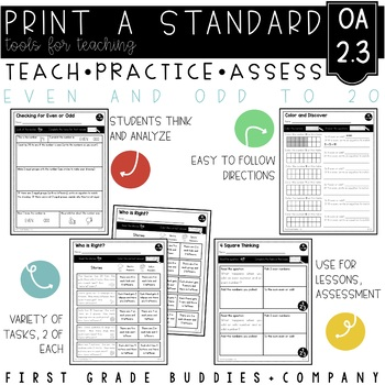 Print a Standard 2.OA.3 {Odd and Even - Numbers Up to 20} No Prep Pack