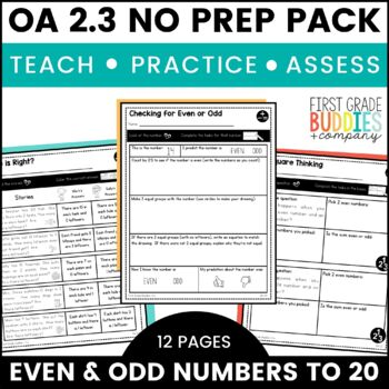 Even and Odd Numbers | OA 2.3 | No Prep Tasks | Assessment | Worksheets