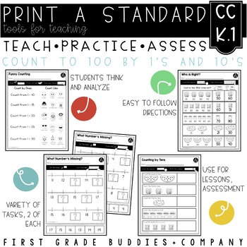 Print a Standard K.CC.1 {Counting to 100 by Ones and Tens} No Prep Pack