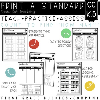 """Print a Standard K.CC.5 {Count to Answer, """"How Many?"""" Questions} No Prep Pack"""