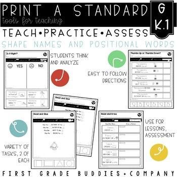 Print a Standard K.G.1 {Describe Relative Positions} No Prep