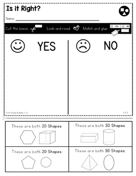 Print a Standard K.G.3 {Identify Shapes as 2D or 3D} No Prep Pack