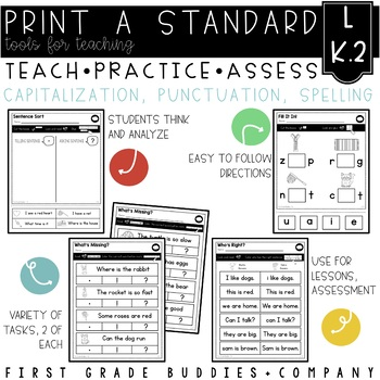 Print a Standard L K.2 {Capitalization, Punctuation, & Spelling} No Prep!