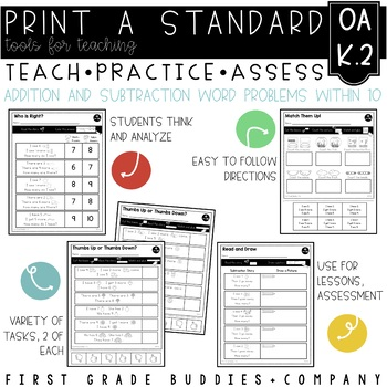 Print a Standard K.OA.2 {Addition and Subtraction Word Problems} No Prep Pack