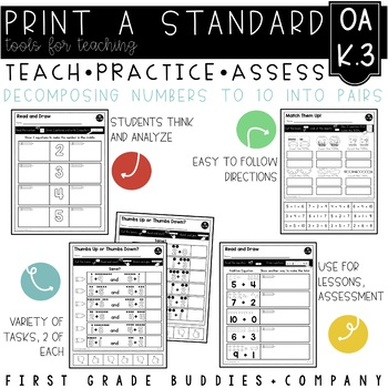 Print a Standard K.OA.3 {Decomposing Numbers Into Pairs} No Prep Pack