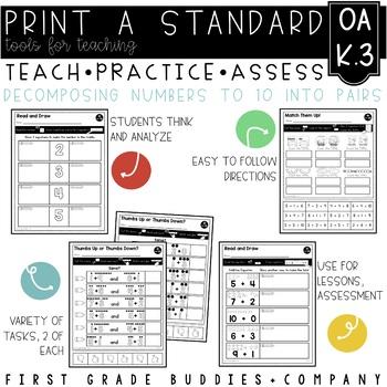 Decomposing Numbers   OA K.3   No Prep Tasks   Assessment   Worksheets