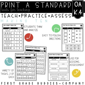 Print a Standard K.OA.4 {Making Ten} No Prep Pack