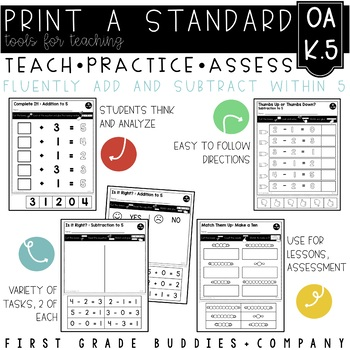 Add and Subtract to 5 | OA K.5 | No Prep Tasks | Assessment | Worksheets