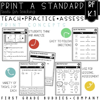 Features of Print | RF K.1 | No Prep Tasks | Assessment | Worksheets