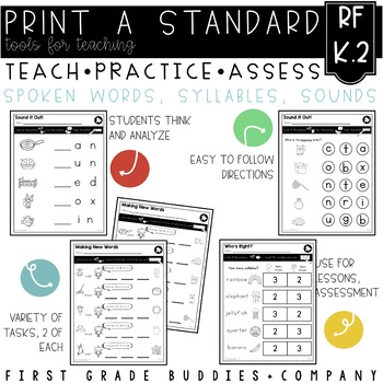 Print a Standard K.RF.2 {Spoken Words, Syllables, and Sounds} No Prep Pack