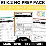 Main Topic and Details | RI K.2 | No Prep Tasks | Assessment | Worksheets