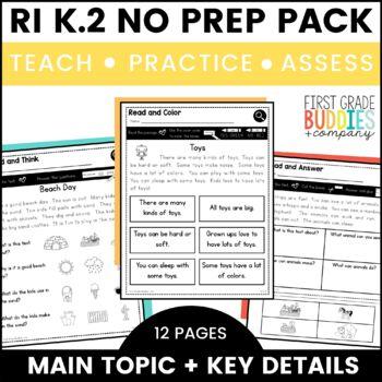 Print a Standard K.RI.2 {Main Topic + Key Details} No Prep Pack