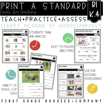 Print a Standard RI K.4 {Unknown Words} No Prep Activities + Assessments