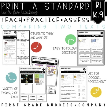 Compare and Contrast Texts   RI K.9   No Prep Tasks   Assessment   Worksheets