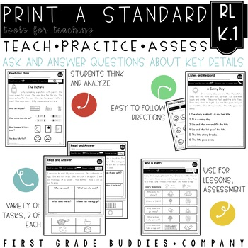 Print a Standard K.RL.1 {Ask and Answer Questions} No Prep Pack