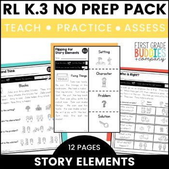 Print a Standard K.RL.3 {Story Elements} No Prep Pack