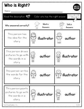 Authors and Illustrators | RL K.6 | No Prep Tasks | Assessment | Worksheets