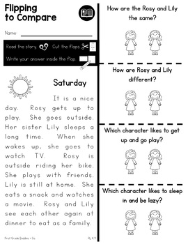 Compare and Contrast Characters | RL K.9 | No Prep Tasks | Worksheets