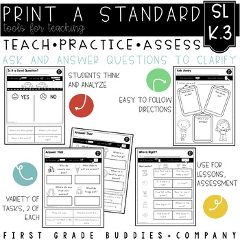 Print a Standard K.SL.3 {Ask and Answer Questions} No Prep Pack