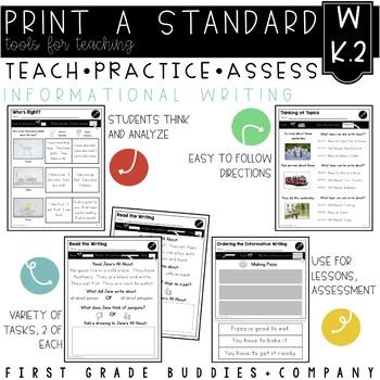 Informative Writing | W K.2 | No Prep Tasks | Assessment | Worksheets
