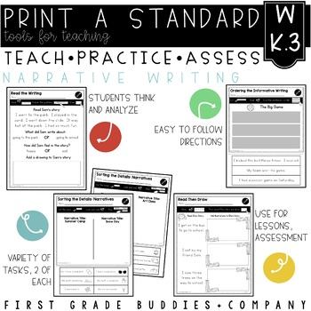 Narrative Writing | W K.3 | No Prep Tasks | Assessment | Worksheets