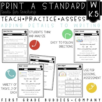 Adding Details to Writing | W K.5 | No Prep Tasks | Assessment | Worksheets