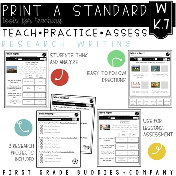 Print a Standard K.W.7 {Group Research & Writing Projects) No Prep Pack