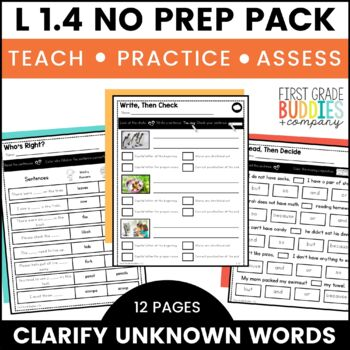 Print a Standard L 1.4 {Unknown Words} No Prep Activities + Assessments