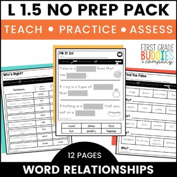 Print a Standard L 1.5  {Word Relationships and Nuances} No Prep Pack