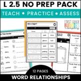 Word Meaning Worksheets   L 2.5   Print a Standard   No Prep Tasks   Assessment