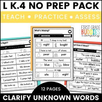 Unknown Words | L K.4 | No Prep Tasks | Assessment | Worksheets