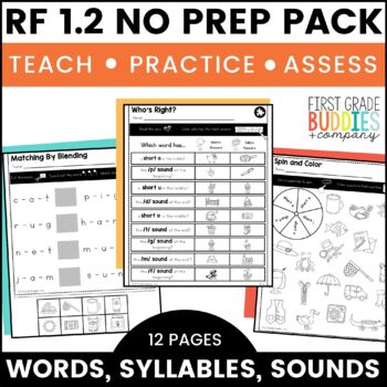 Print a Standard RF 1.2 {Spoken Words, Syllables, and Sounds} No Prep Pack