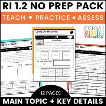 Print a Standard RI 1.2 {Identify the Main Topic and Key Details} No Prep Pack
