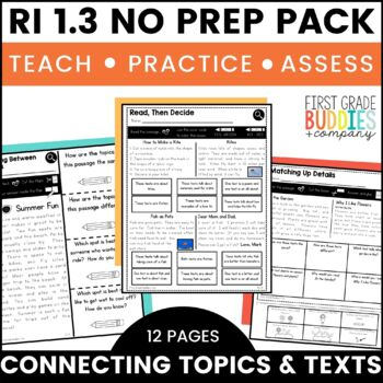 Connections in Texts | RI 1.3 | No Prep Tasks | Assessment | Worksheets