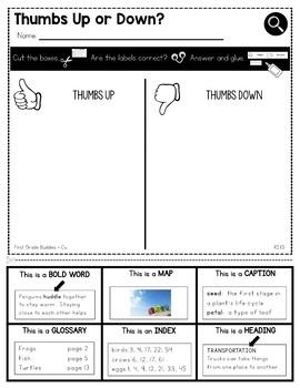 Text Features | RI 1.5 | No Prep Tasks | Assessment | Worksheets