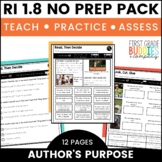 Print a Standard RI 1.8 {Identifying Author's Purpose} Activities + Assessments