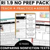Compare and Contrast Texts | RI 1.9 | No Prep Tasks | Assessment | Worksheets