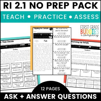 Print a Standard RI 2.1 {Ask and Answer Questions} No Prep Pack