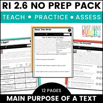 Print a Standard RI 2.6 {Author's Purpose} No Prep Activities + Assessments